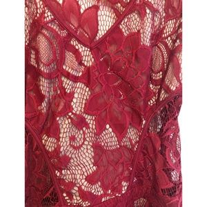 Tart Collections Dresses - New Tart Collection Lila Lace Overlay Dress Red XS